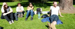 Central English school students (and a teacher) relax at the Botanic Gardens in Dublin