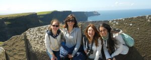 Central English School Dublin students at the Cliffs of Moher