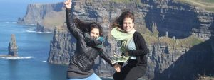 Central School of Online English students at the Cliffs of Moher in Ireland