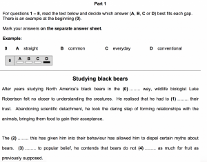 CAE Exam Reading and Use of English Part 1 Sample