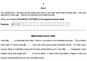 Cambridge FCE Exam Reading and Use of English Part 2 Sample