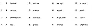 Cambridge FCE Exam Reading and Use of English Part 1 Sample