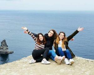 Central English School Dublin students on cliffs